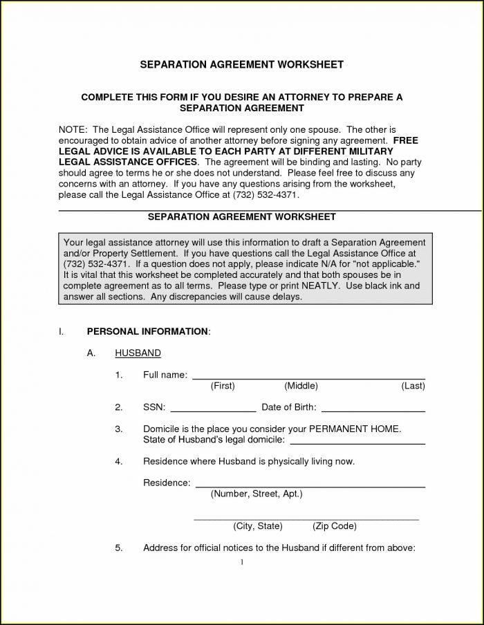 Free Legal Separation Forms North Carolina