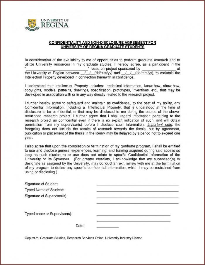 Free Non Disclosure Agreement Template Word Canada