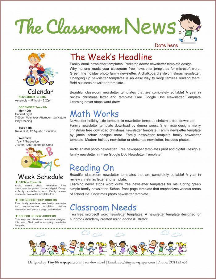 Free Online Classroom Newsletter Templates