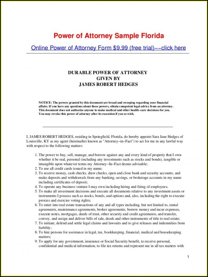 Free Printable Durable Power Of Attorney Form For Oklahoma