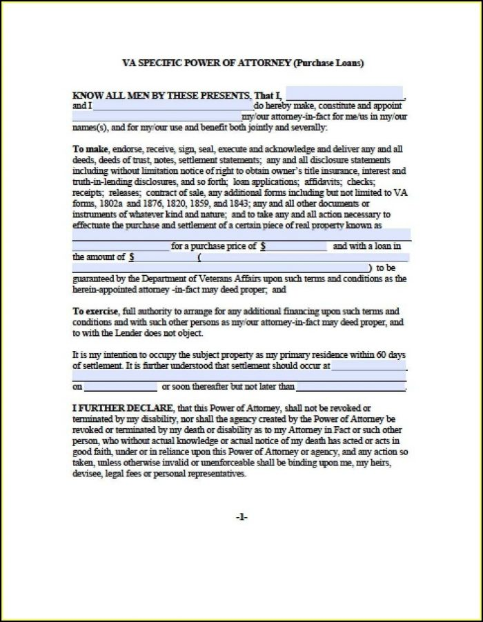 Free Printable Durable Power Of Attorney Form For Virginia