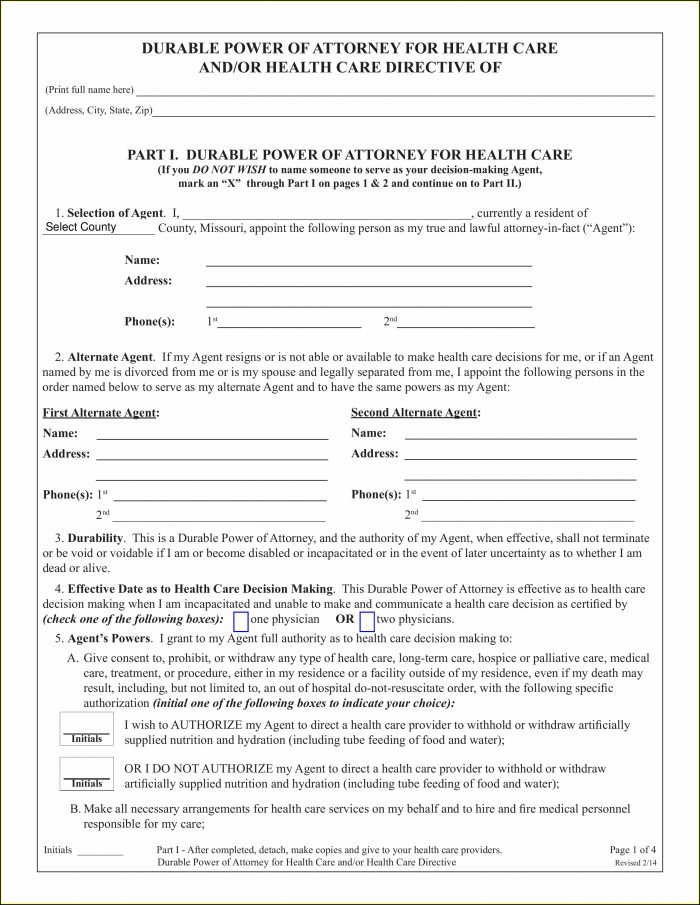 Free Printable Durable Power Of Attorney Form Missouri