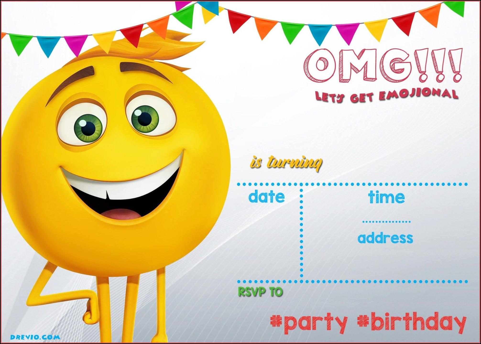 Free Printable Emoji Birthday Invitation Templates