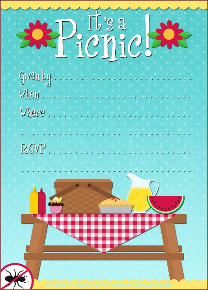 Free Printable Picnic Invitation Template