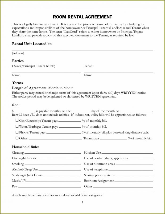 Free Rental Agreement Form Template