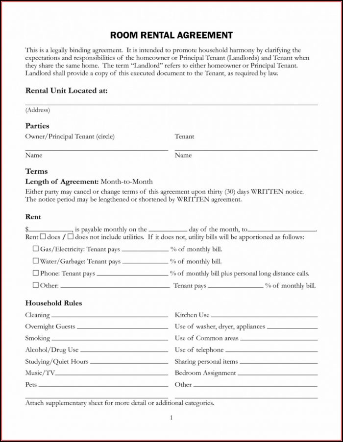 Free Rental Lease Agreement Template Word