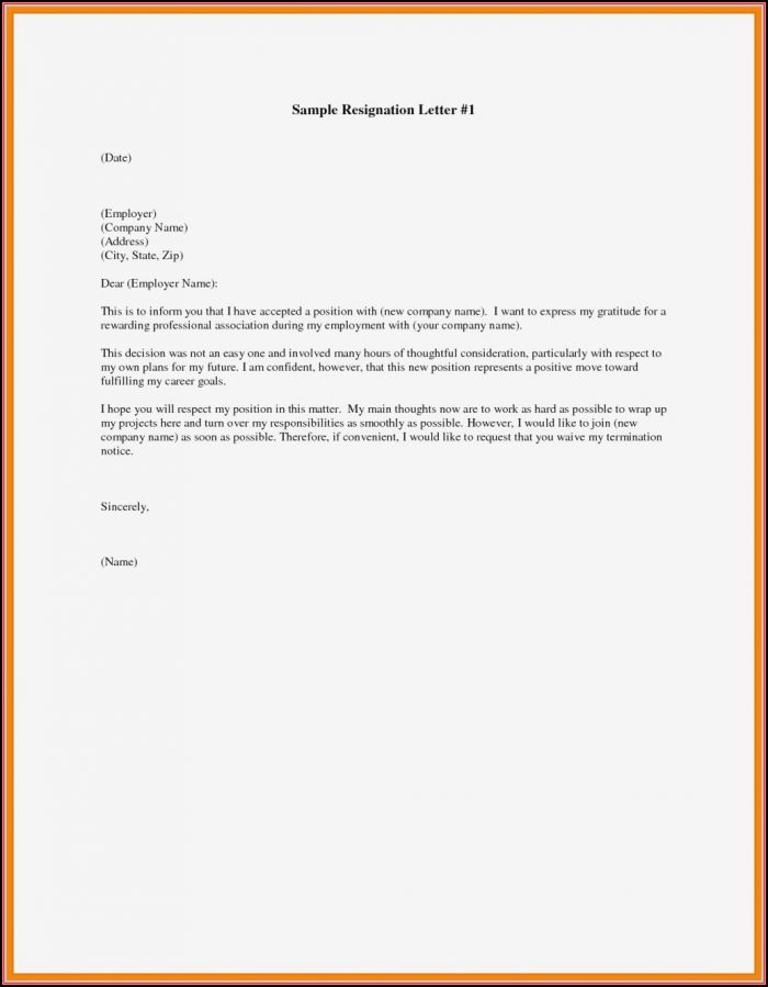 Free Resignation Letter Template