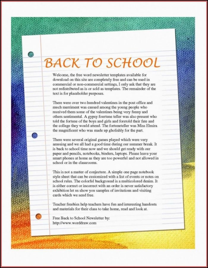 Free School Newsletter Templates Word