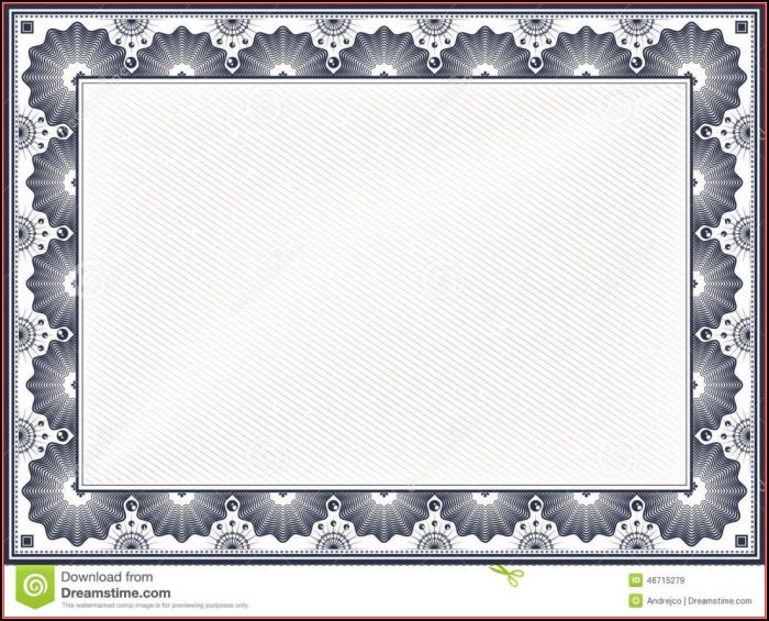 Free Stock Certificate Border Template