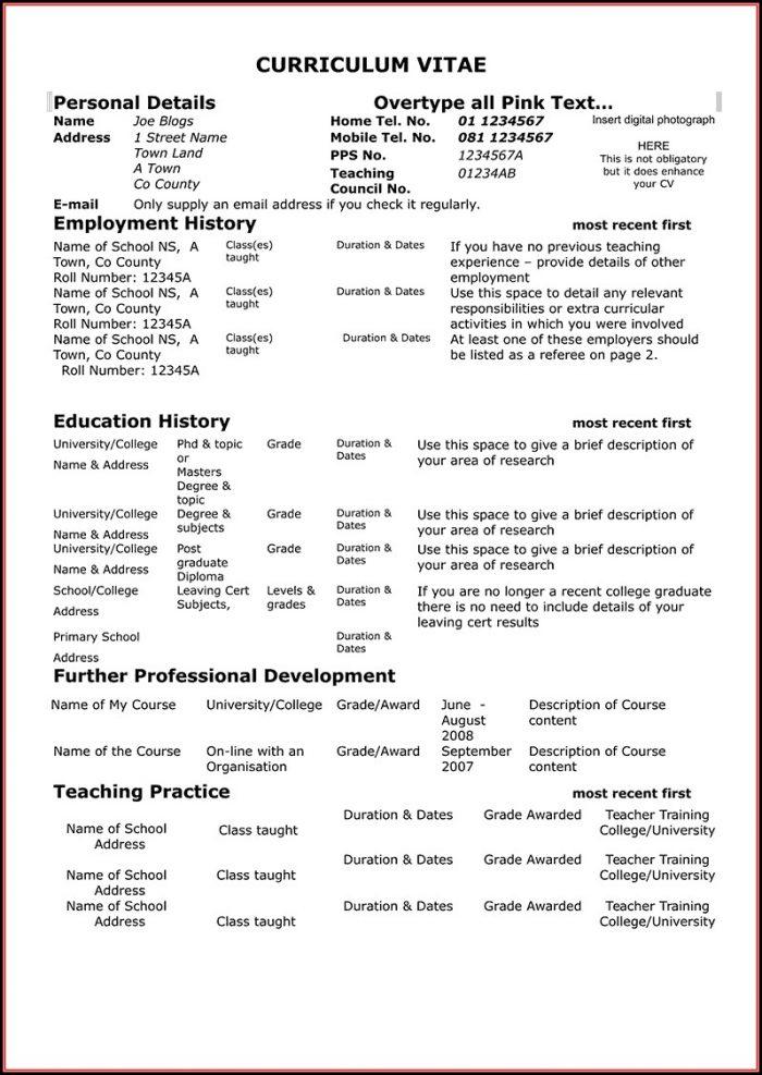 Free Teacher Resume Templates Download