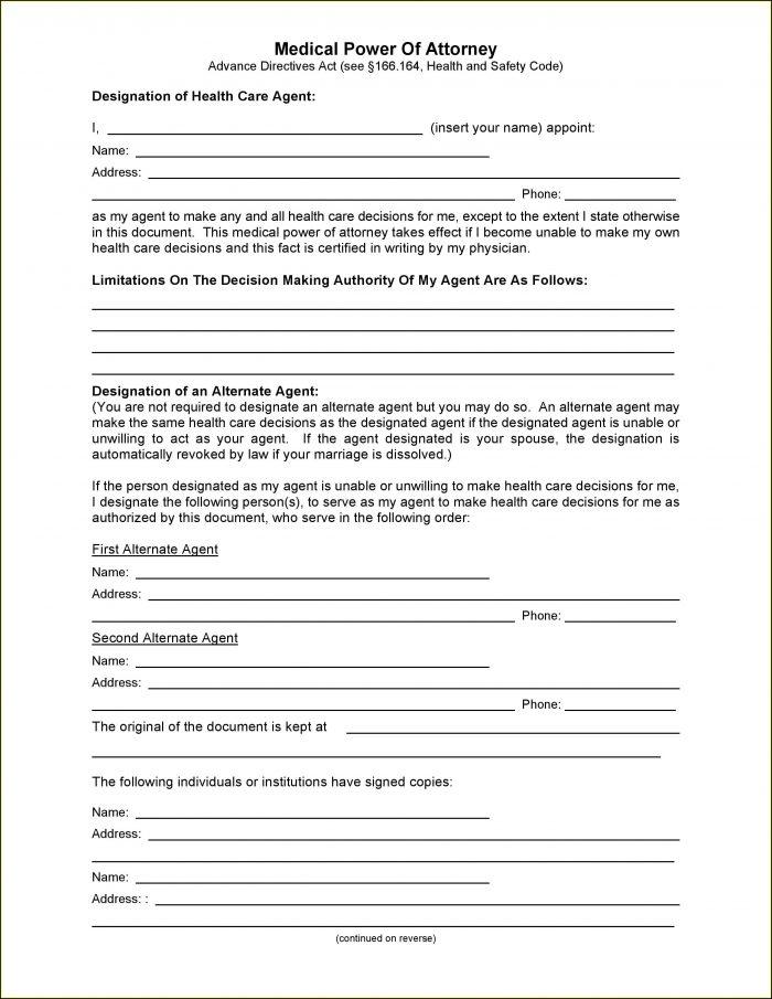 Free Texas Medical Power Of Attorney Form Pdf