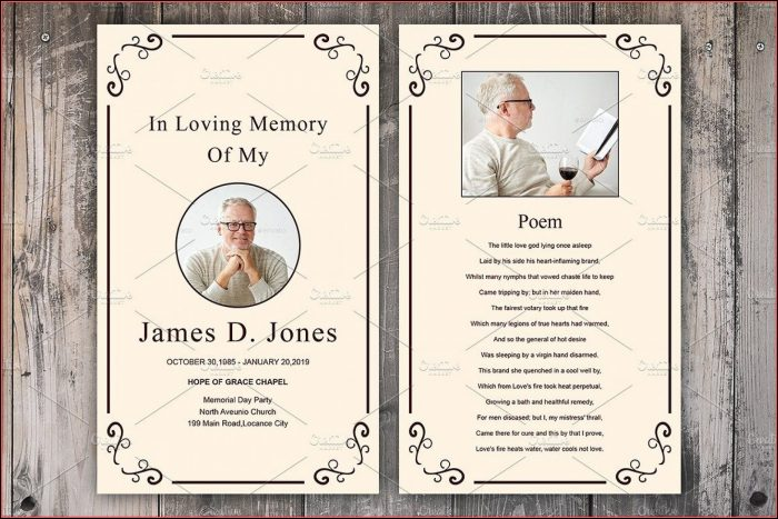 Funeral Prayer Cards Templates Free
