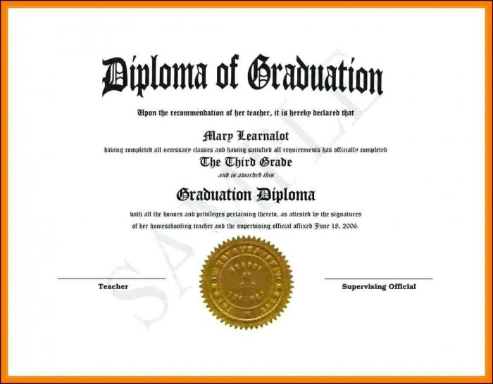 High School Diploma Template With Seal Free