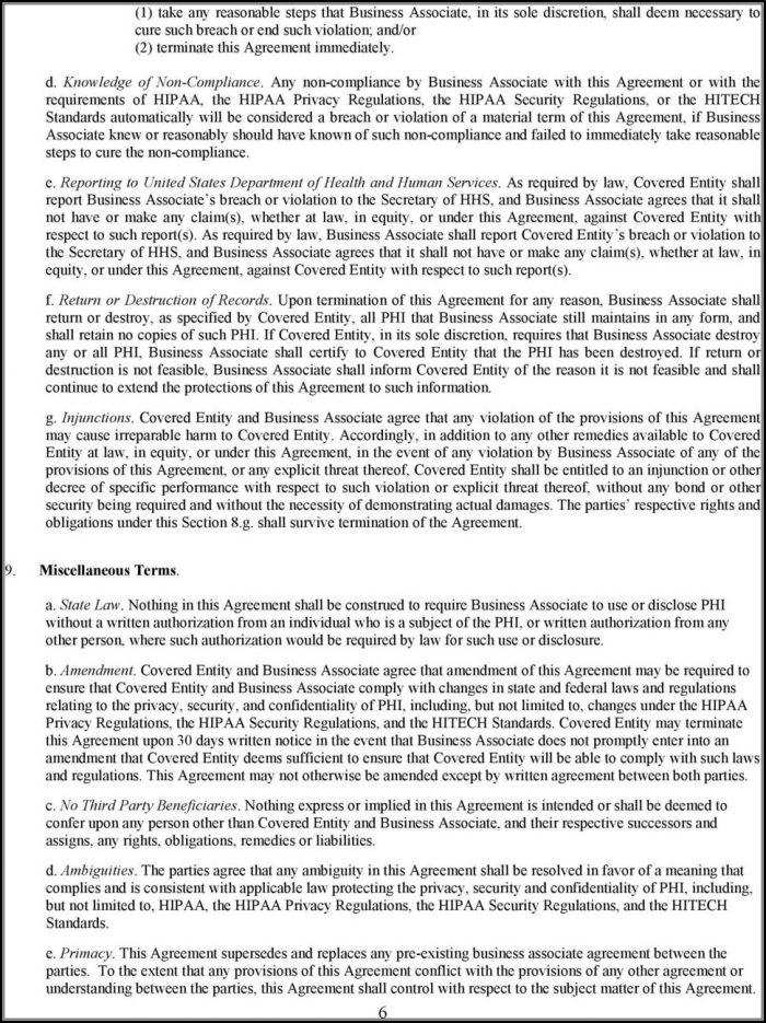 Hipaa Hitech Business Associate Agreement Template