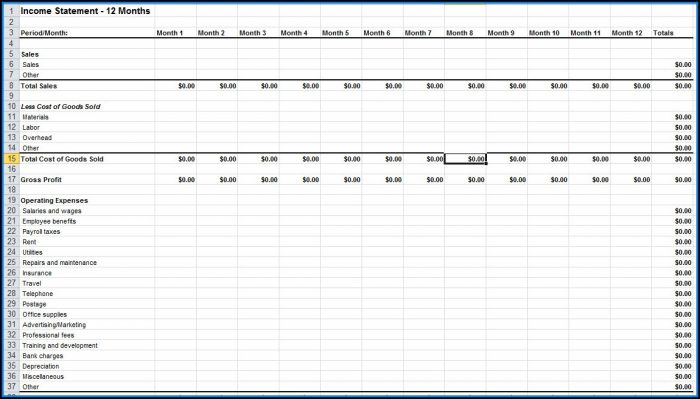 Income Statement Format Excel Free Download