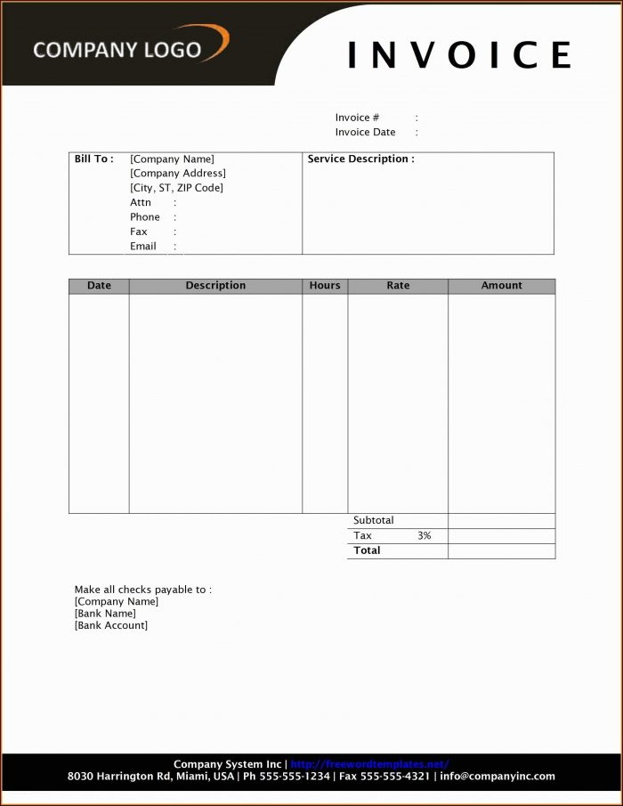 Invoice Template Word Download Free Uk