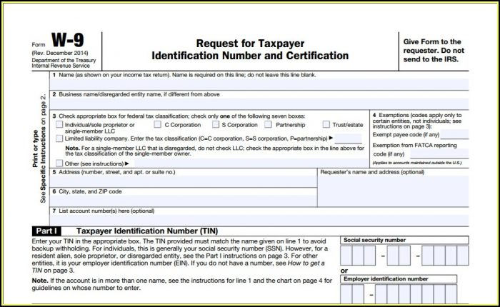 Irs Form W 9 Fillable