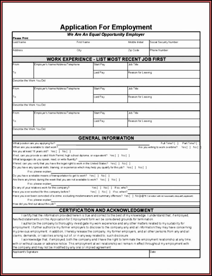 Job Application Form Template Word Free