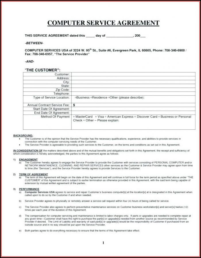 Lawn Care Service Contract Forms