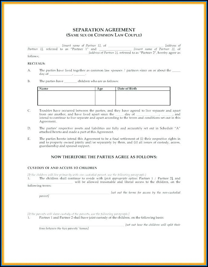 Marriage Separation Agreement Template Ontario