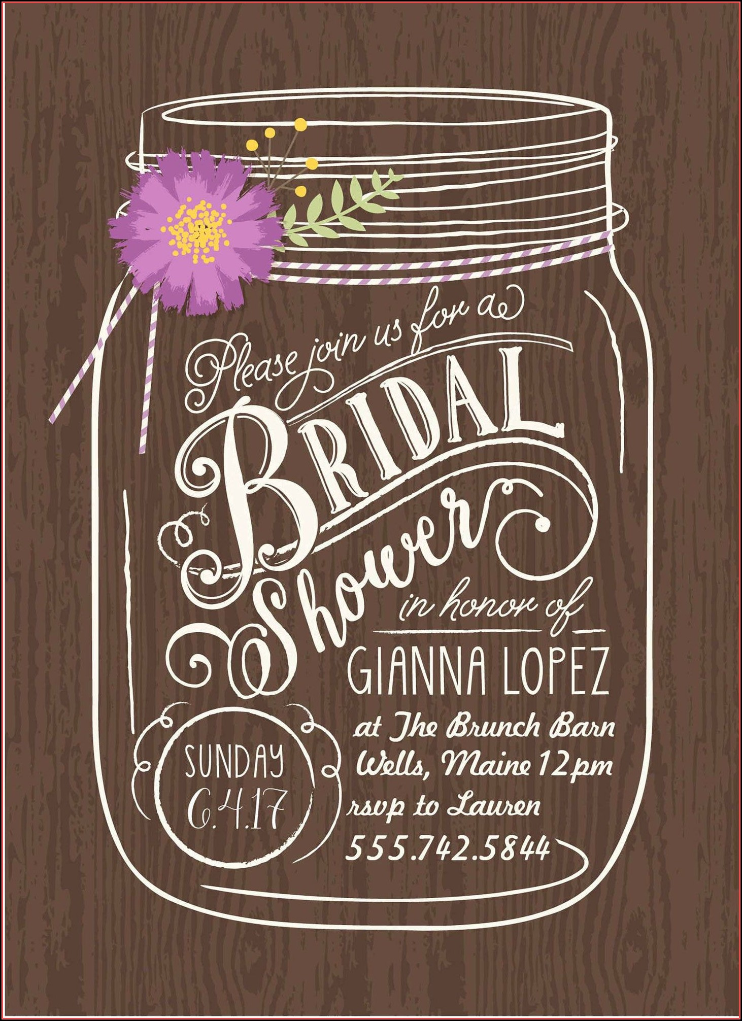 Mason Jar Bridal Shower Invitation Template
