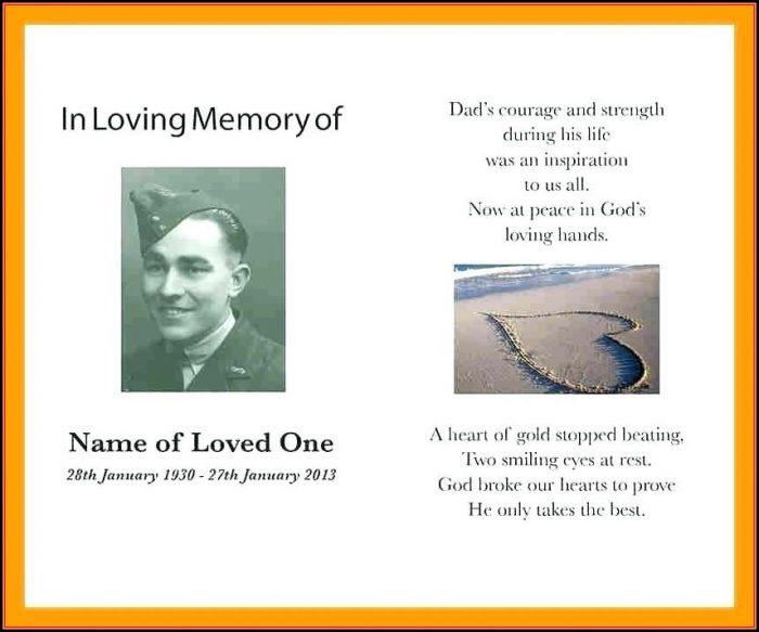 Memorial Card Template Microsoft Word