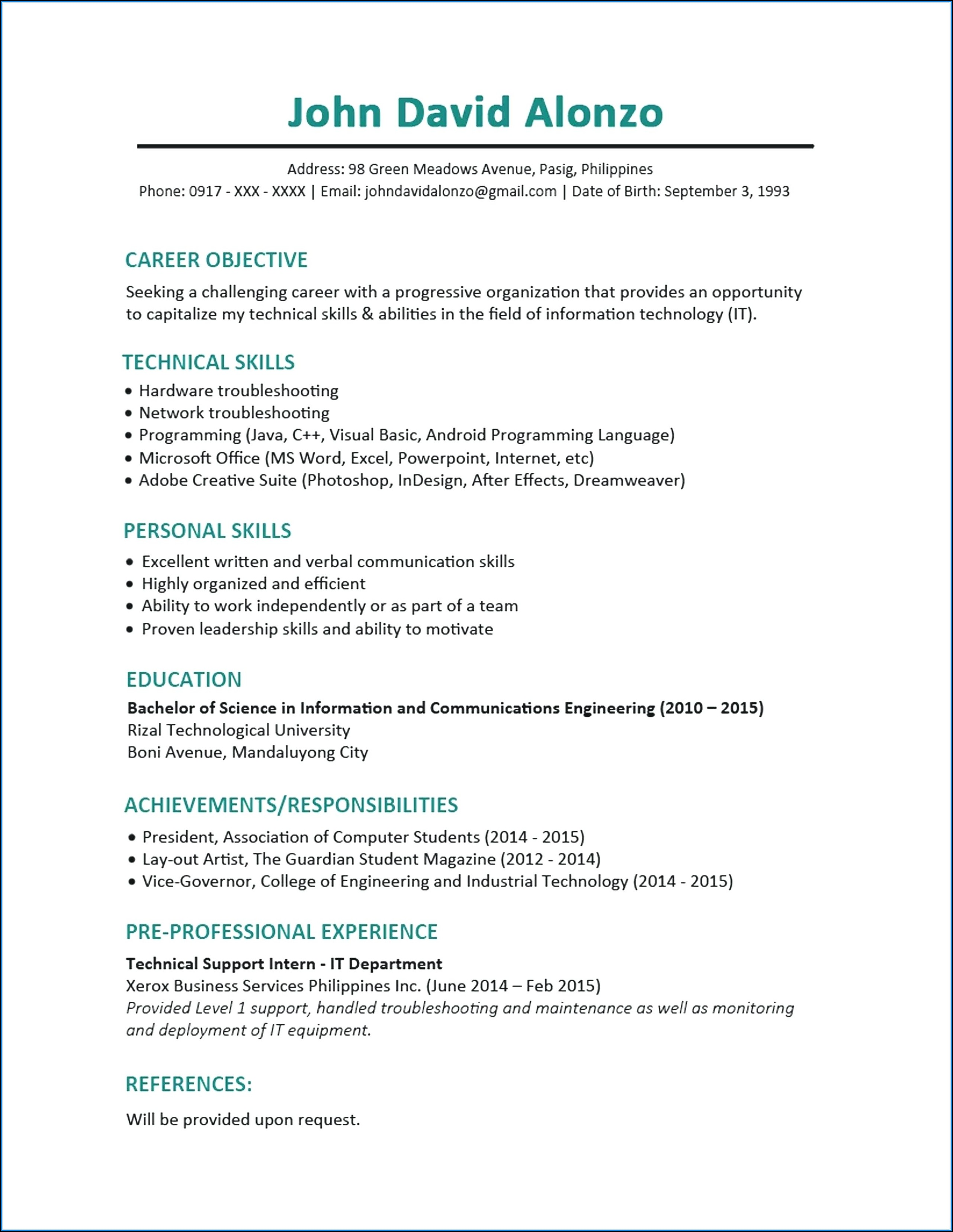 My First Resume Examples