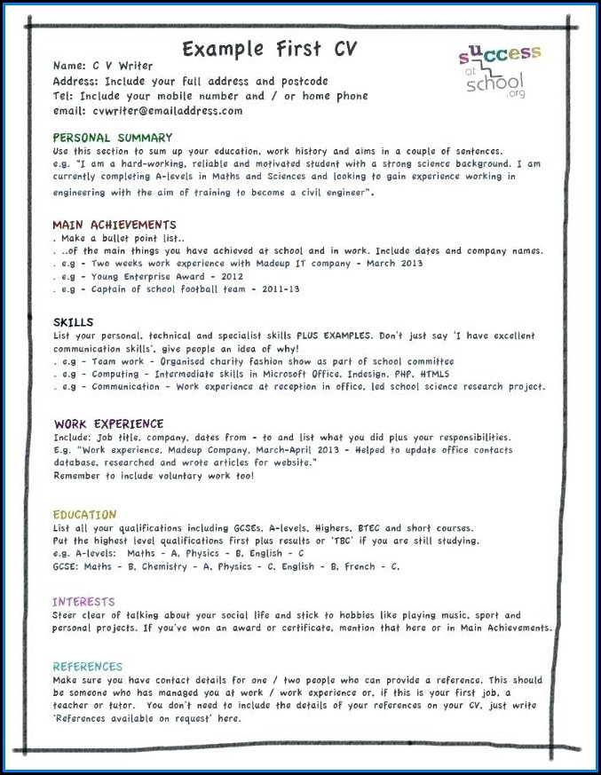 My First Resume Template Pdf