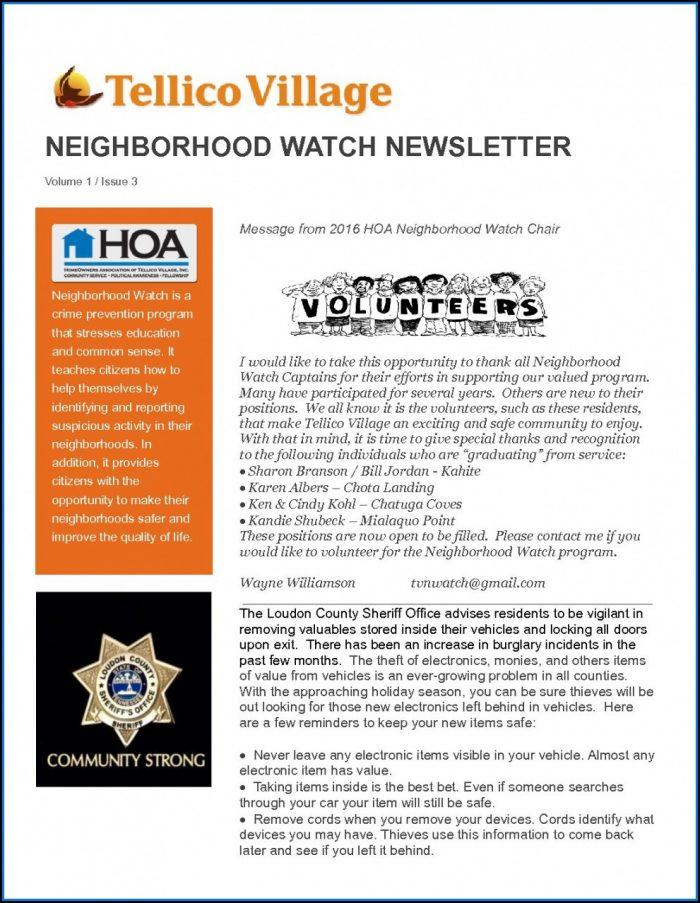 Neighborhood Association Newsletter Template