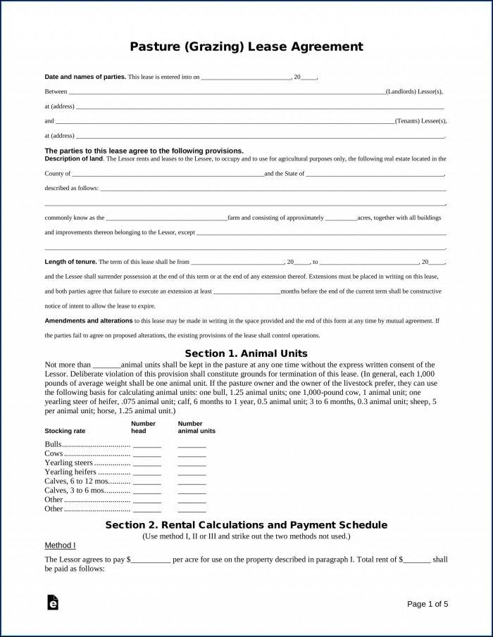 Oklahoma Pasture Lease Agreement Form