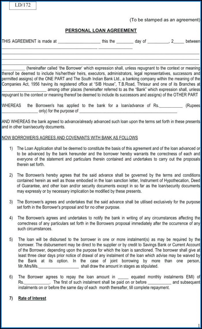 Personal Loan Forms Free Template