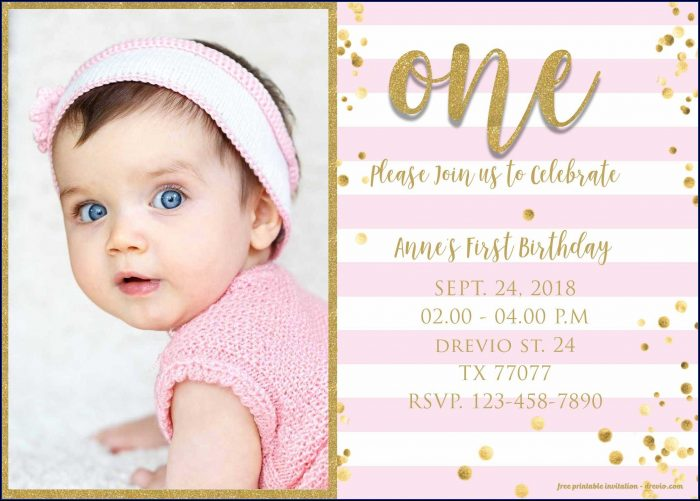 Pink And Gold Birthday Invitation Template Free