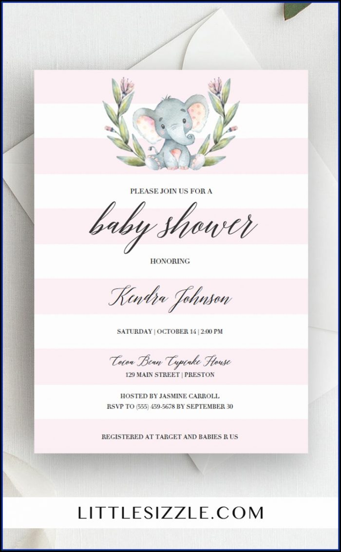 Pink Elephant Baby Shower Invitation Templates