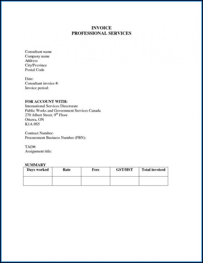 Professional Services Invoices Template