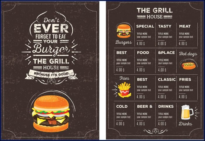 Restaurant Menu Design Templates Photoshop