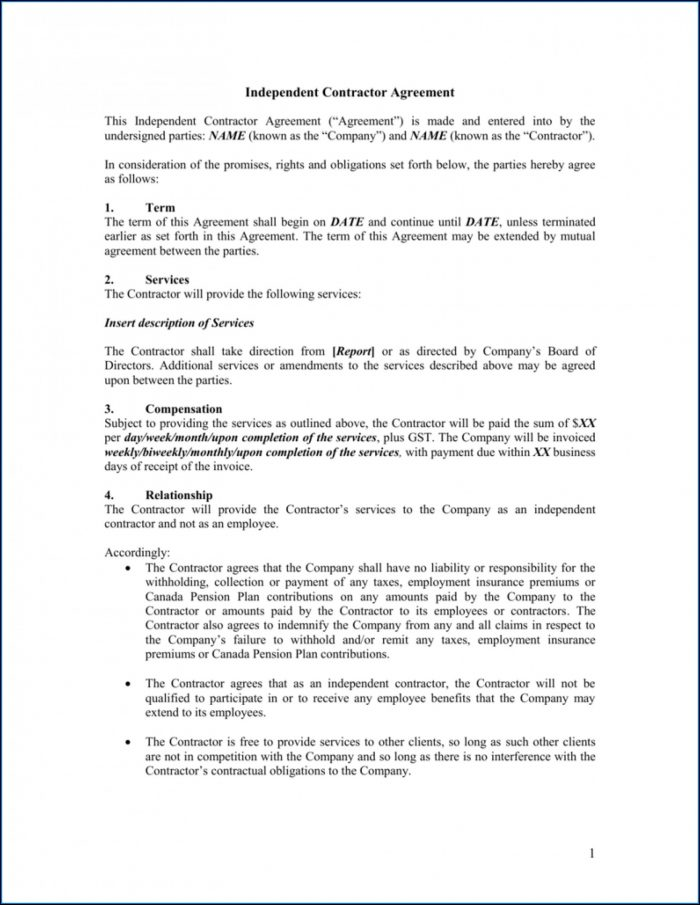 Simple Independent Contractor Agreement Sample