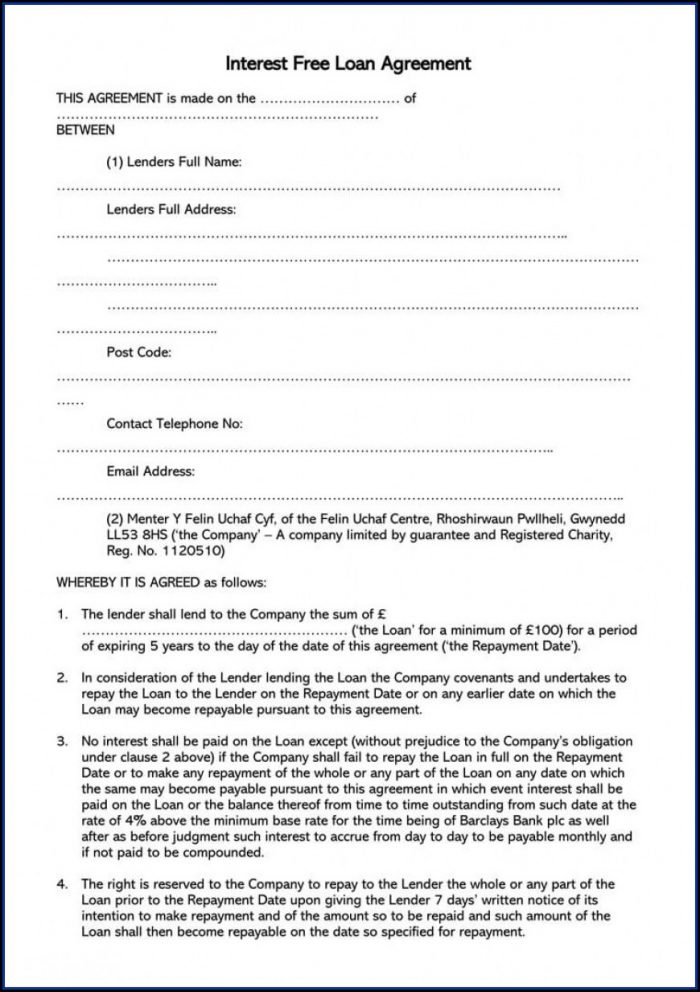 Simple Loan Agreement Template Free Uk