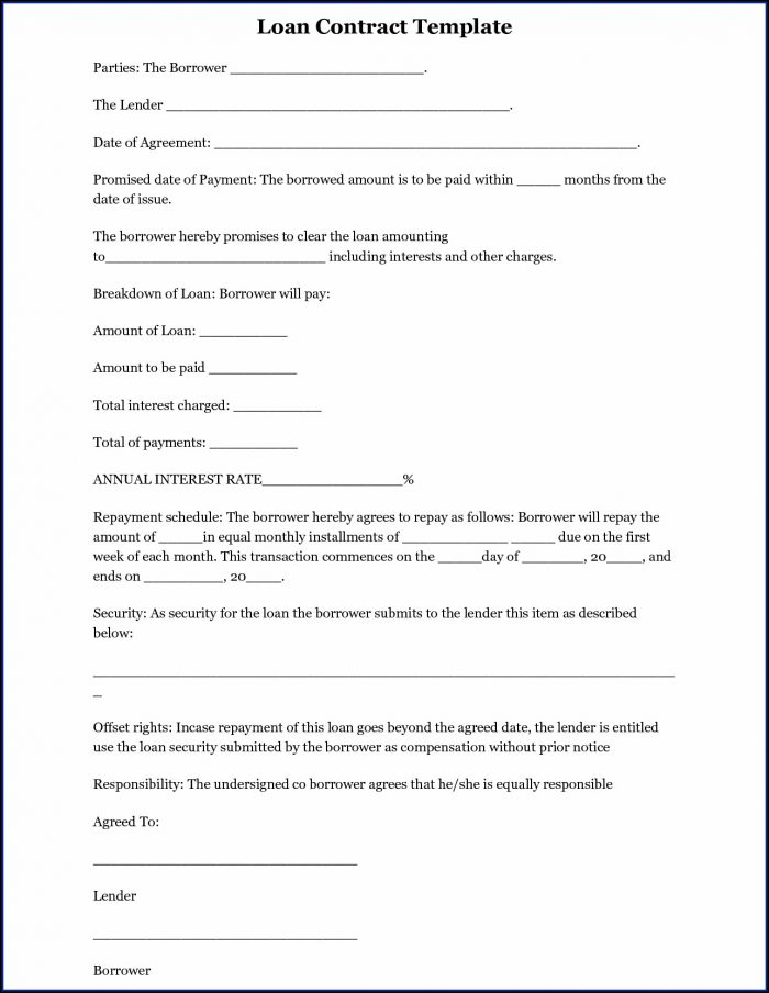 Simple Loan Agreement Template Word South Africa