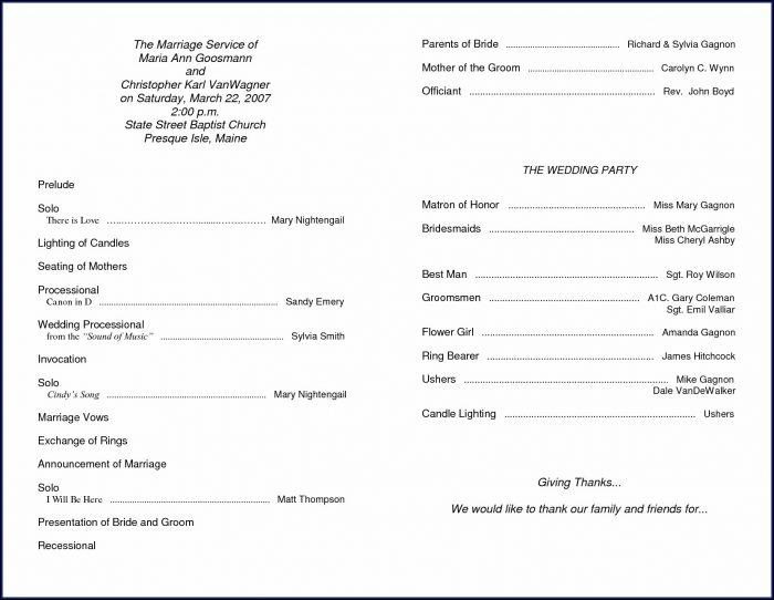 Wedding Ceremony Program Sample