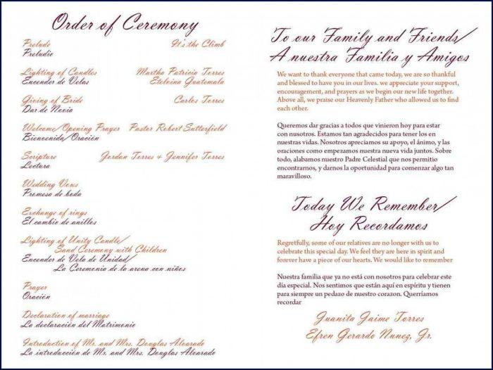 Wedding Ceremony Program Samples One Page