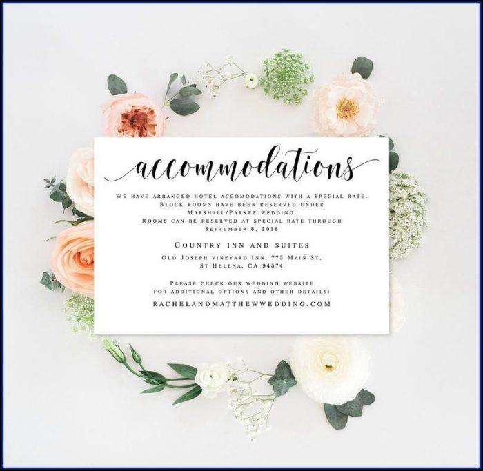 Wedding Invitation Hotel Insert Template