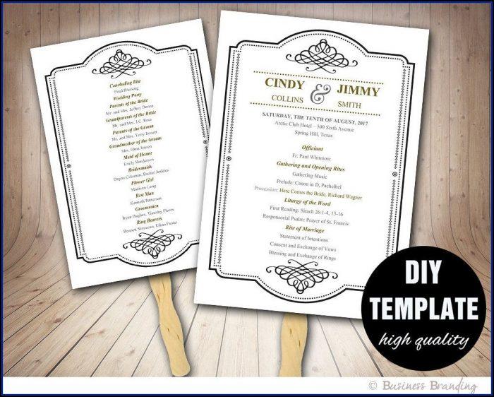 Wedding Program Fan Template Download