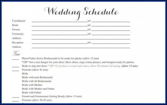 Wedding Timetable Template