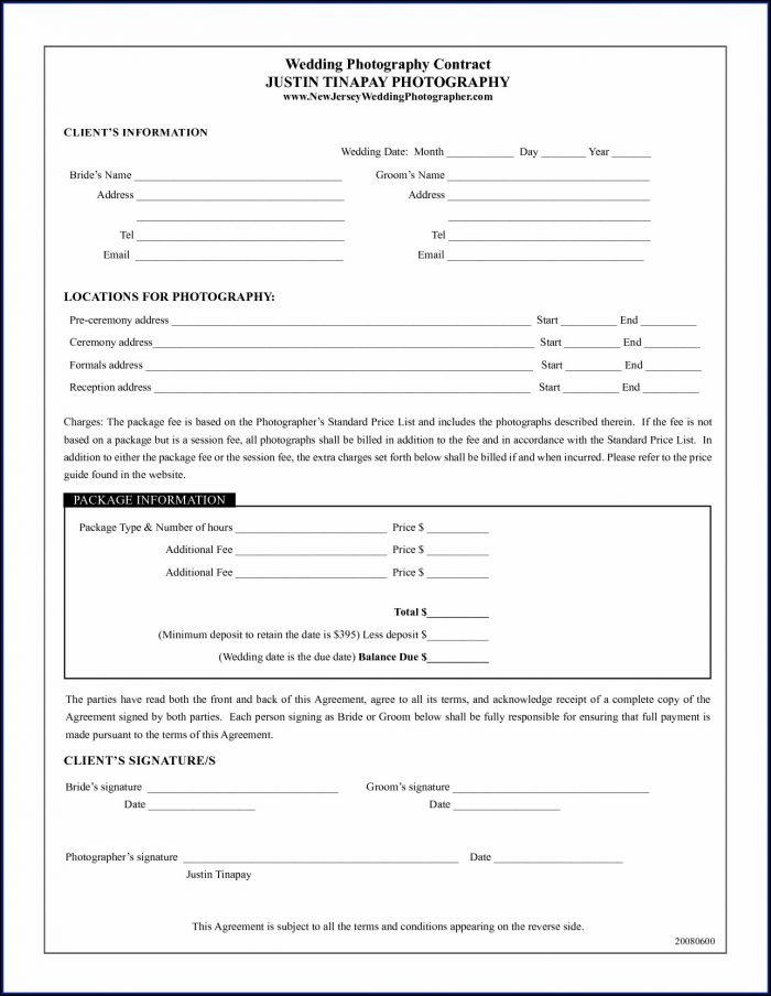 Wedding Videography Contract Template Free