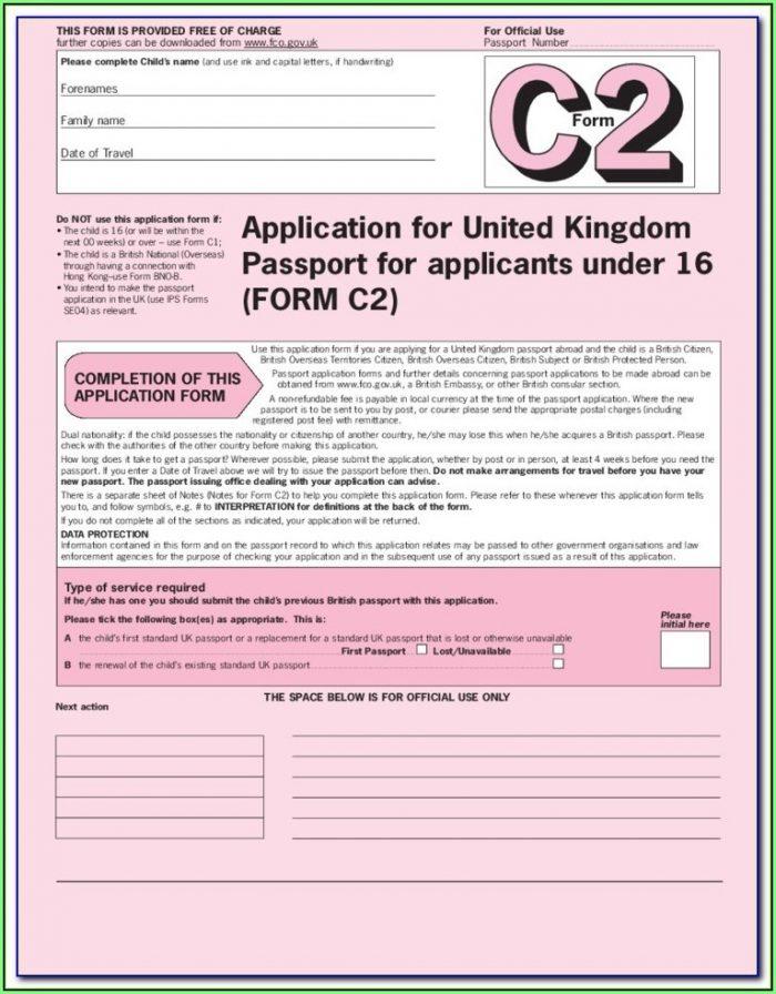 British Passport Renewal Form C1 Download