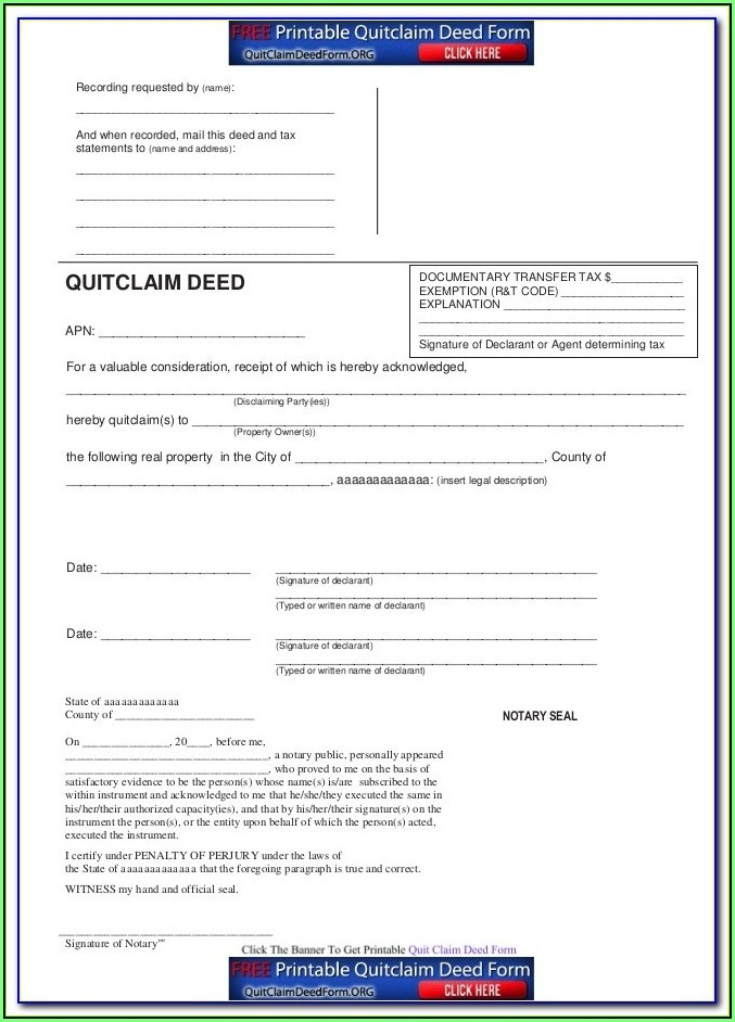 Ca Quit Claim Deed Form Free
