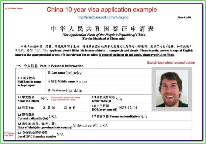 China Tourist Visa Application Form Uk
