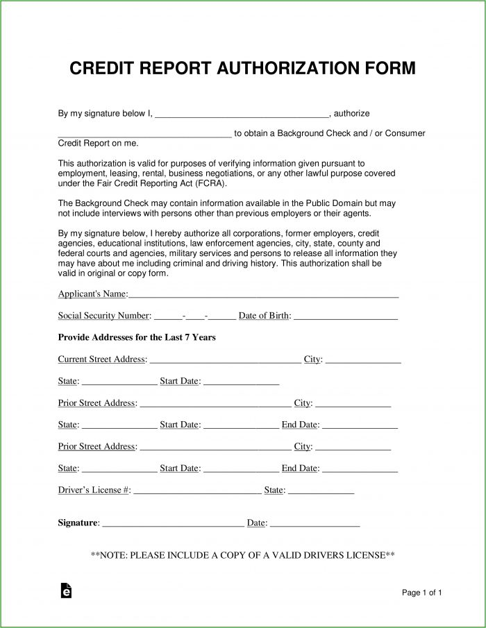 Consent To Background Check Form Tenant