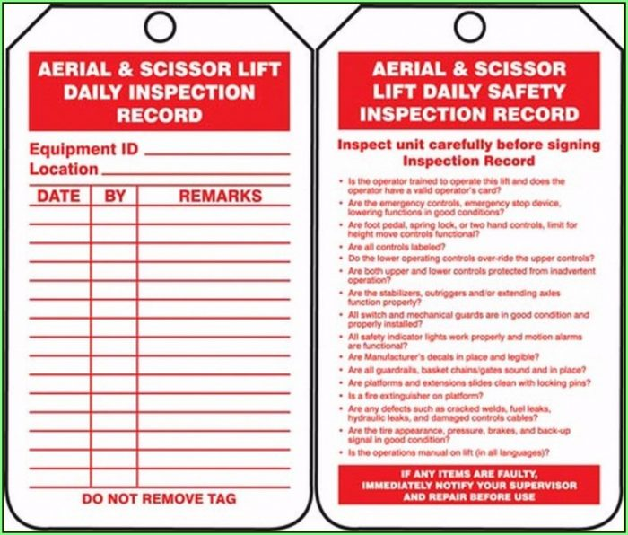 Daily Manlift Inspection Form