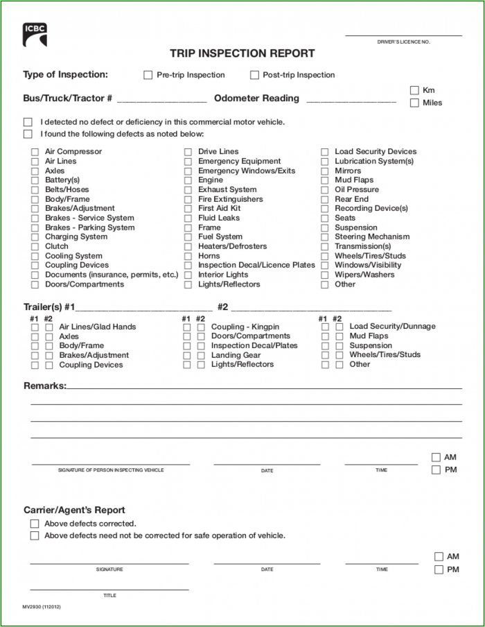 Daily Vehicle Inspection Report Template Ontario